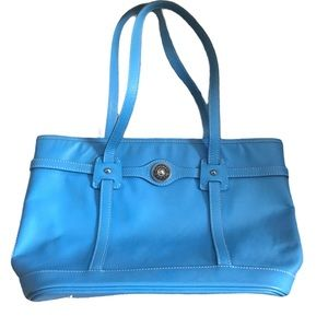 Dooney & Bourke Pave Leather Logo Tote in Sky Blue